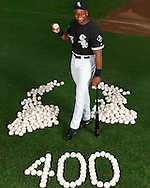 CHICAGO - JULY 27:  Frank Thomas #35 of Chicago White Sox poses for a photo after hitting his 400th career home run against the Tampa Bay Devil Rays in the 5th inning on July 25, 2003 at U.S. Cellular Field in Chicago, Illinois. (Photo by Ron Vesely)
