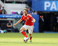 Joe Allen of Wales in action.UEFA Euro 2016, last 16 , Wales v Northern Ireland at the Parc des Princes in Paris, France on Saturday 25th June 2016, pic by  Andrew Orchard, Andrew Orchard sports photography.