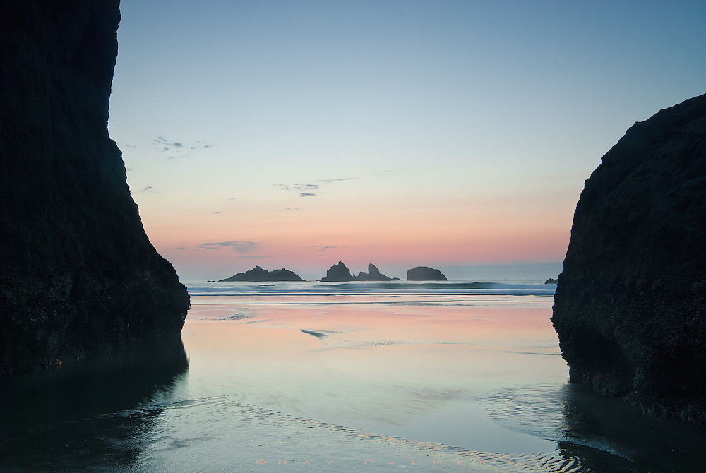 Bandon Beach, Oregon Coast.<br /> You can wander the beach at Bandon and find things to shoot forever.  There are sea stacks everywhere, and sunsets here are an art form.  On this particular evening, the tide was retreating and I was able to walk among stacks that would normally be awash.