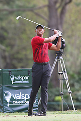 March 11, 2018 - Palm Harbor, FL, U.S. - PALM HARBOR, FL - MARCH 11: Tiger Woods tees off on the par 3 17th hole during the final round of the Valspar Championship on March 11, 2018, at Westin Innisbrook-Copperhead Course in Palm Harbor, FL. (Photo by Cliff Welch/Icon Sportswire) (Credit Image: © Cliff Welch/Icon SMI via ZUMA Press)