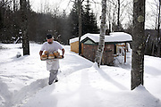 Erik Goodling took a two year break from teaching English at Richmond Middle School to start a small commercial bakery out of his home in Strafford, Vt. Goodling produces about 60 loaves twice a week to sell at markets and directly to customers.  (Valley News - James M. Patterson)<br /> Copyright © Valley News. May not be reprinted or used online without permission. Send requests to permission@vnews.com.
