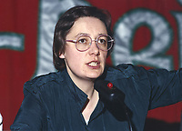 Bairbre de Brun, activist, Sinn Fein, Belfast, N Ireland, UK, at party conference, ard fheis, January, 19900001BdB.<br /><br />Copyright Image from Victor Patterson, Belfast, UK<br /><br />t: +44 28 9066 1296 (from Rep of Ireland 048 9066 1296)<br />m: +44 7802 353836<br />e: victorpattersonbelfast@gmail.com<br /><br />www.images4media.com<br /><br />Please see my full Terms and Conditions of Use at https://www.images4media.com/p/terms-conditions - it is IMPORTANT that you familiarise yourself with them.<br /><br />Images used online incur an additional cost. This cost should be agreed in writing in advance. Online images must be visibly watermarked i.e. © Victor Patterson or that of the named photographer within the body of the image. The original metadata must not be deleted from images used online.<br /><br />This image is only available for the use of the download recipient i.e. television station, newspaper, magazine, book publisher, etc, and must not be passed on to a third party. It is also downloaded on condition that each and every usage is notified within 7 days to victorpattersonbelfast@gmail.com.<br /><br />The right of Victor Patterson (or the named photographer) to be identified as the author is asserted in accordance with The Copyright Designs And Patents Act (1988). All moral rights are asserted.