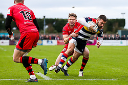 Jordan Williams of Bristol Rugby is tackled by Auguy Slowik of Jersey Reds - Rogan/JMP - 28/10/2017 - RUGBY UNION - Stade Santander International - St Peter, Jersey - Jersey Reds v Bristol Rugby - Greene King IPA Championship.