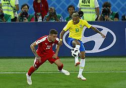 June 27, 2018 - Moscow, Russia - Group E Serbia v Brazil - FIFA World Cup Russia 2018.Neymar (Brazil) and Sergej Milinkovic-Savic (Serbia) at Spartak Stadium in Moscow, Russia on June 27, 2018. (Credit Image: © Matteo Ciambelli/NurPhoto via ZUMA Press)