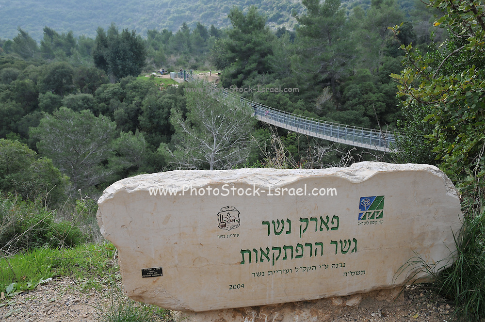 Israel, Carmel Mountain, the Nesher Park. The suspension bridge in the background