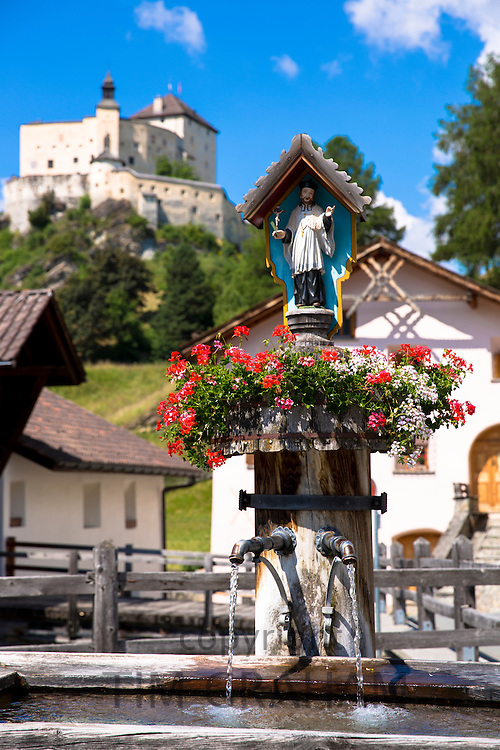 Water fountain in the village of Tarasp in the Lower Engadine Valley, Switzerland