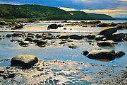 Rocky shoreline of Saguenay River<br /> Saint-Fulgence<br /> Quebec<br /> Canada