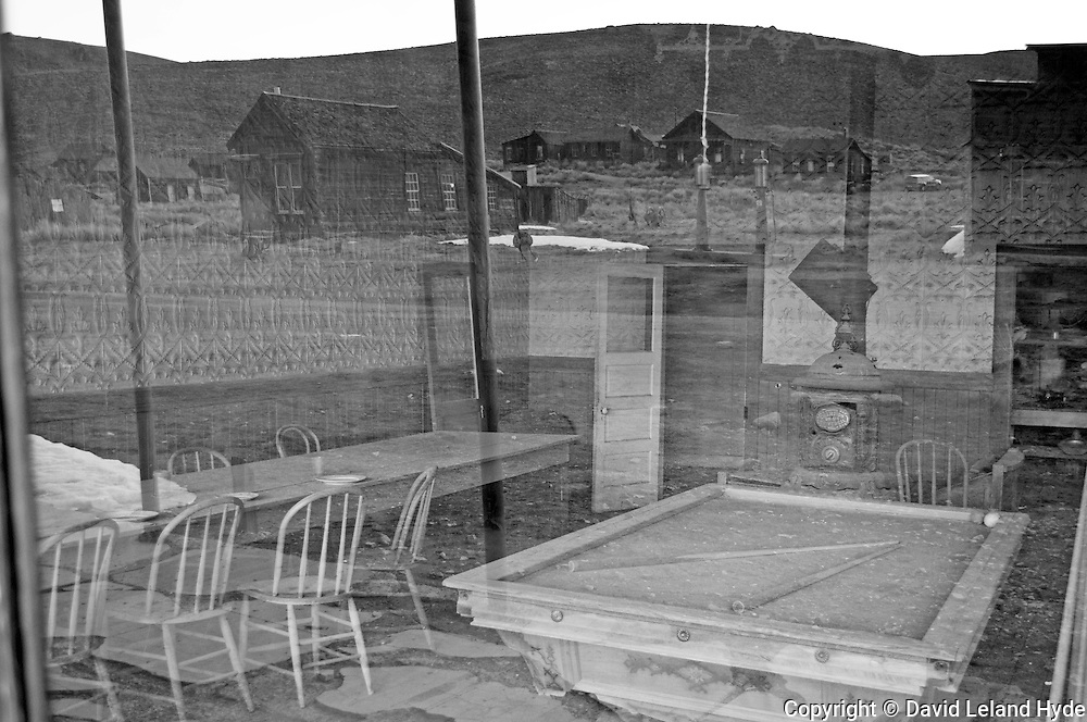 Bodie Hotel Bar, Window Reflection, Pool Table, Bar Stools, Wood Stove, Bodie State Historic Park, Sierra Nevada Mountains, California parks, desert scenes