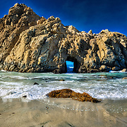 Photo taken on a bright sunny day of famous Keyhole Rock at the beautiful Pfeiffer Beach in Big Sur,CA.