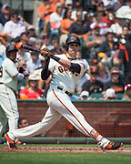 San Francisco Giants first baseman Ryder Jones (63) watches a foul ball hit against the Philadelphia Phillies at AT&T Park in San Francisco, California, on August 20, 2017. (Stan Olszewski/Special to S.F. Examiner)