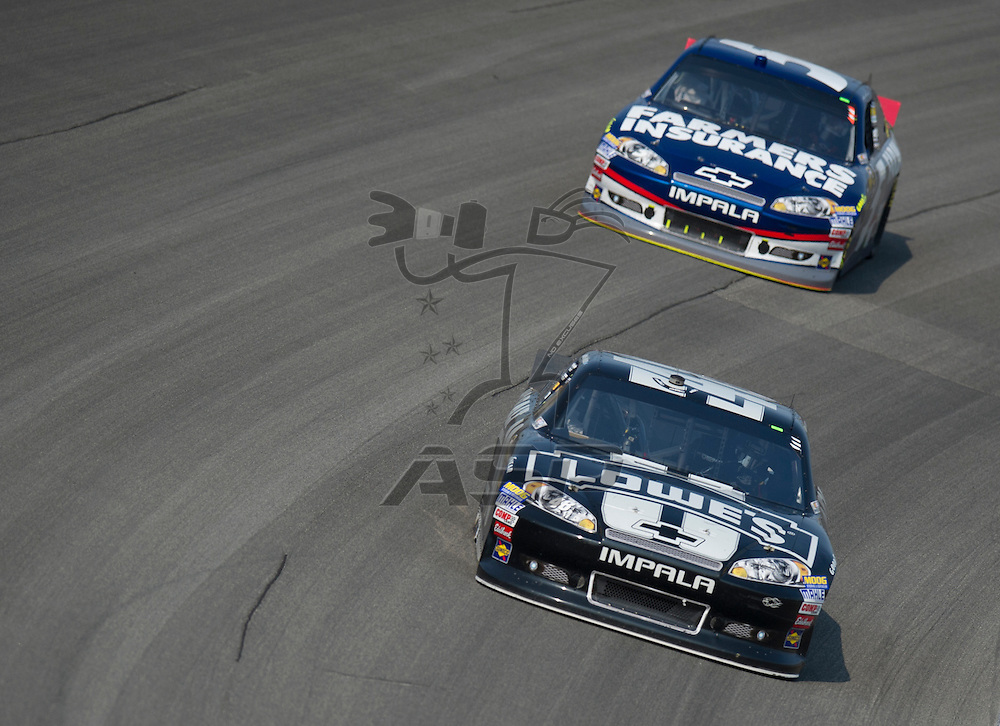 Joliet, IL - SEP 16, 2012:  The NASCAR Sprint Cup teams take to the track during the GEICO 400 at Chicagoland Speedway in Joliet, IL.