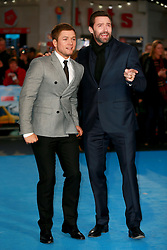 Taron Egerton and Hugh Jackman at the European Premiere of Eddie the Eagle, London, Britain, 17.03.2016, 17.03.2016. EXPA Pictures © 2016, PhotoCredit: EXPA/ Photoshot/ James Shaw/Photoshot<br /> <br /> *****ATTENTION - for AUT, SLO, CRO, SRB, BIH, MAZ, SUI only*****