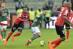 March 18, 2018 - Saint Etienne - Stade Geoffroy, France - Remy Cabella (saint etienne) vs Lebogang Phiri  (Credit Image: © Panoramic via ZUMA Press)