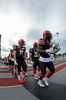 KELOWNA, BC - AUGUST 17:  Malcom MILLER #3, Tyson MASTRODIMOS #9 and Ryley Amendt #53 of Okanagan Sun walk to the field against the Westshore Rebels  at the Apple Bowl on August 17, 2019 in Kelowna, Canada. (Photo by Marissa Baecker/Shoot the Breeze)