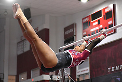 March 9, 2018 - Philadelphia, Pennsylvania, U.S - Temple Owls gymnast ALEXA PHILLIP competes on uneven bars during a meet held in Philadelphia, PA. Temple finished second to Maryland in the tri-meet. (Credit Image: © Ken Inness via ZUMA Wire)