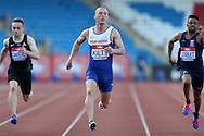 Richard Kilty running during the 100m heat race.The British Championships 2016, athletics event at the Alexander Stadium in Birmingham, Midlands  on Friday 24th June 2016.<br /> pic by John Patrick Fletcher, Andrew Orchard sports photography.