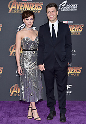 Scarlett Johansson and Colin Jost attend the World Premiere of Avengers: Infinity War on April 23, 2018 in Los Angeles, CA, USA. Photo by Lionel Hahn/ABACAPRESS.COM