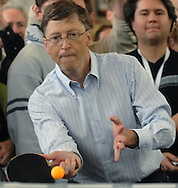 05/06/07  Omaha, NE Microsoft's Bill Gates  returns a serve from Ariel Hsing,11, during his match against as part of an event for  the Berkshire Hathaway annual meeting Sunday at Regency Court Sunday afternoon..(photo by Chris Machian/Prarie Pixel Group).