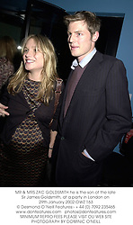MR & MRS ZAC GOLDSMITH he is the son of the late Sir James Goldsmith, at a party in London on 29th January 2002.OWZ 163