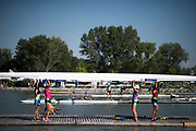 Plovdiv BULGARIA. 2017 FISA. Rowing World U23 Championships.  UKR BW4-. lifting their boat out of the water.<br /> <br /> Wednesday. AM, general Views, Course, Boat Area<br /> 09:48:53  Wednesday  19.07.17   <br /> <br /> [Mandatory Credit. Peter SPURRIER/Intersport Images].