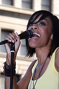 Michelle Williams performs at The 2008 J &R Downtown Music Festival Launch at City Hall Park on August 21, 2008 in New York City
