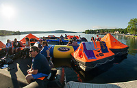 "The overnight crew awakes to a the calm Saturday morning on Meredith Bay during the Make A Wish ""Rafting for Wishes"" event at Hesky Park on Saturday.  (Karen Bobotas/for the Laconia Daily Sun)"