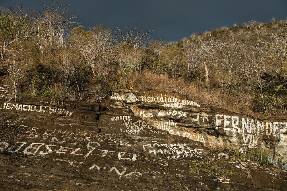 Graffiti<br /> Tagus Cove <br /> Isabela<br /> Galapagos<br /> Ecuador, South America
