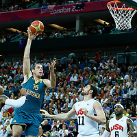 08 August 2012: Australia Aleks Maric goes for the skyhook during 119-86 Team USA victory over Team Australia, during the men's basketball quarter-finals, at the 02 Arena, in London, Great Britain.