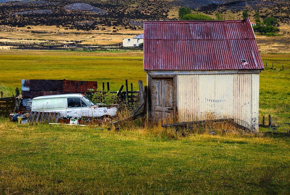 NATIONAL PARK TORRES DEL PAINE, CHILE - CIRCA FEBRUARY 2019: Abandoned car in Torres del Paine National Park, Chile.