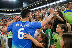Mitja Gasparini of Slovenia with fans after volleyball match between National teams of Slovenia and Belgium in 2nd Round of 2018 FIVB Volleyball Men's World Championship qualification, on May 28, 2017 in Arena Stozice, Ljubljana, Slovenia. Photo by Morgan Kristan / Sportida