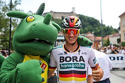 Pascal Ackermann (GER) of Bora - Hansgrohe with Zmajcek - mascot of Ljubljana during 1st Stage of 26th Tour of Slovenia 2019 cycling race between Ljubljana and Rogaska Slatina (171 km), on June 19, 2019 in  Slovenia. Photo by Matic Klansek Velej / Sportida