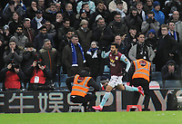 Football - 2019 / 2020 EFL Carabao (League) Cup - Semi-Final, Second Leg: Aston Villa (1) vs. Leicester City (1)<br /> <br /> Mahmoud Trezeguet of Villa celebrates in front of the Dejected Leicester fans after scoring the late winner in injury time, at Villa Park.<br /> <br /> COLORSPORT/ANDREW COWIE