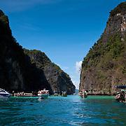 Boats in Pileh Lagoon, Phi Phi Lay Island, Thailand