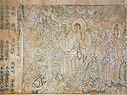 Diamond Sutra. Cave 17, Dunhuang, ink on paper. Hidden for centuries in a sealed-up cave in north-west China, this copy of the 'Diamond Sutra' is the world's earliest complete survival of a dated printed book. It was made in AD 868