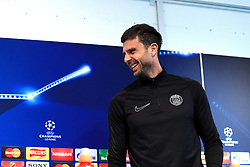 Thiago Motta of PSG talks to the press - Mandatory byline: Matt McNulty/JMP - 07966386802  - FOOTBALL - Manchester City v PSG - Etihad Stadium -Manchester,England - UEFA Champions League