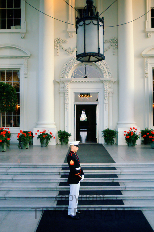 Military guard at the White House steps in Washington DC, USA.