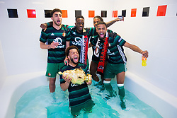 Bilal Basacikoglu of Feyenoord, Jeremiah St. Juste of Feyenoord, Tyrell Malacia of Feyenoord, Jeremiah St. Juste of Feyenoord, Tonny Vilhena of Feyenoord, cup, trophy, dressing room, bath during the Dutch Toto KNVB Cup Final match between AZ Alkmaar and Feyenoord on April 22, 2018 at the Kuip stadium in Rotterdam, The Netherlands.
