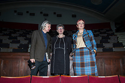 Pictured: Angela Constance, Alison Evison and Jack Hunter chair of Leith Theatre Trust<br /> Communities Secretary Angela Constance MSP was joined today at the Leith Theatre in Ediburgh by Cosla president councillor Alison Evison as details of the local governance review project were unveiled.  The project will look at how communities can have more of a say on how decisions are taken locally.<br /> <br /> <br /> Ger Harley | EEm 7 December 2017