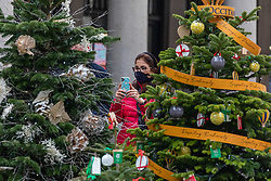 © Licensed to London News Pictures. 23/11/2020. London, UK. A women takes a photo of a row of Christmas trees in a quiet Covent Garden in London as office workers stay away from the City. Prime Minister Boris Johnson will address the Nation tonight to set out his plans for Christmas and the end of lockdown 2.0 with the opening up of shops and restaurants. However he will also introduce a new tougher three-tiered system with further localised restriction to the hospitality industry, Christmas office parties and pub opening hours. Photo credit: Alex Lentati/LNP