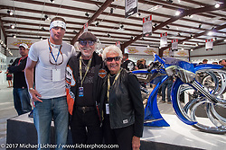 Custom builder Dustin Maybin with Nancy and Willie G Davidson at the Old Iron - Young Blood exhibition media and industry reception in the Motorcycles as Art gallery at the Buffalo Chip during the annual Sturgis Black Hills Motorcycle Rally. Sturgis, SD. USA. Sunday August 6, 2017. Photography ©2017 Michael Lichter.