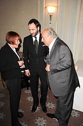 Left to right, MARY QUANT, TOM FORD and SIR PHILIP GREEN at a dinner hosted by Vogue in honour of photographer David Bailey at Claridge's, Brook Street, London on 11th May 2010.