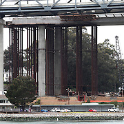 The San Francisco-Oakland Bay Bridge is under construction, and scheduled to open Labor Day 2013. The Self-Anchored Suspension Span (SAS) is the largest bridge of its kind in the world measuring 2,047 feet. This engineering and construction marvel raises the bridge building bar to new heights, as seen in these behind the scenes photos taken of the Yerba Buena Island transition structure on Monday, March 18, 2013. (AP Photo/Alex Menendez)