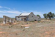 Dilapidated and rundown old outback shearning wool shed near Narrandera, New South Wales, Australia <br />