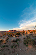 The sunset view looking northward from Murphy Hogback, along the White Rim Road, Island in the Sky District, Canyonlands National Park, Moab, Utah, USA.