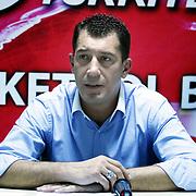 Anadolu Efes's coach Ufuk SARICA during their Turkey Cup Qualifying basketball third match Anadolu Efes between Aliaga Petkim at Aliaga Arena in Izmir, Turkey, Tuesday, October 11, 2011. Photo by TURKPIX