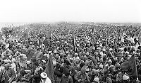 Green March of 1975. Moroccans march in protest in the Western Sahara in a dispute over territory. Photographed by Terry Fincher