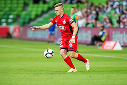 February 9, 2019 - Melbourne, VIC, U.S. - MELBOURNE, AUSTRALIA - February 09 : Scott Galloway of Adelaide United  controls the ball during round 18 of the Hyundai A-League Series between Melbourne City and Adelaide United on February 9 2019, at AAMI Park in Melbourne, Australia. (Photo by Jason Heidrich/Icon Sportswire) (Credit Image: © Jason Heidrich/Icon SMI via ZUMA Press)