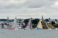 Nick Cherry (Redshift), Julien Pulve (Team Vendee Formation), Martin Le Pape (Macif 2017), Theo Moussion (theoenfigaro) during the start of the Douarnenez Fastnet Solo 2017 on September 17, 2017 in Douarnenez, France - Photo Francois Van Malleghem / ProSportsImages / DPPI