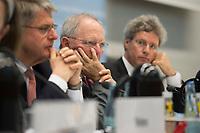 """26 MAR 2012, BERLIN/GERMANY:<br /> Wolfgang Schaeuble (M), CDU, Bundesfinanzminister, Kongress der CDU/CSU-Bundestagsfraktion """"Krisen vorbeugen - Finanzaufsicht staerken"""", Sitzungssaal CDU/CSU-Bundestagsfraktion, Deutscher Bundestag<br /> IMAGE: 20120326-01-037"""