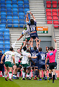 Sale Sharks lock Lood De Jager wins a line-out during a Gallagher Premiership Round 14 Rugby Union match, Sunday, Mar 21, 2021, in Eccles, United Kingdom. (Steve Flynn/Image of Sport)